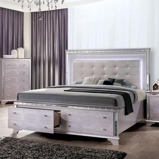 Furniture of America Bese Glam Pink Solid Wood Storage Platform Bed