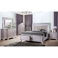 Furniture of America Diadem Glam Silver Rose Platform Storage Bed