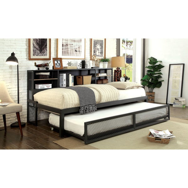 Furniture Of America Ferno Industrial 2 Piece Gun Metal Twin Daybed Set With Trundle