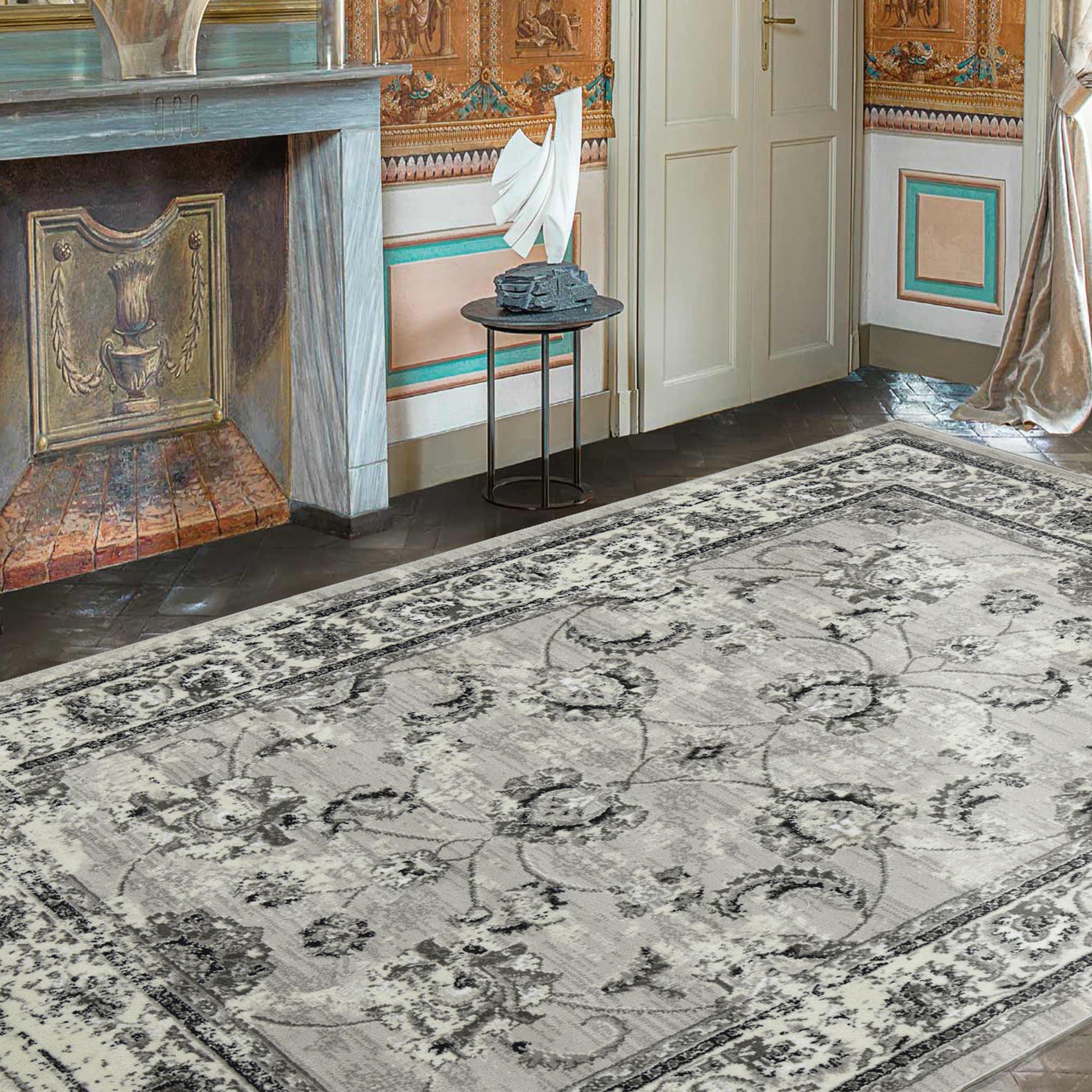 Ottomanson Royal Collection Distressed Floral Design Area Rug (5 X 7) - 53 x 7 (Dark Grey)