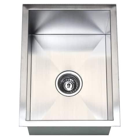 15-inch Stainless Steel 16 Gauge Zero Radius Single Bowl Kitchen Island Bar Undermount Sink