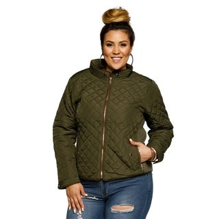 Xehar Womens Plus Size Quilted Collared Ribbed Puffer Jacket