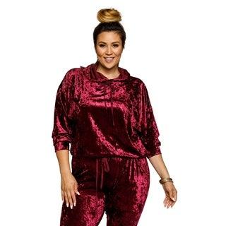 Xehar Womens Plus Size Crushed Velvet Drawstring Hoodie Sweater