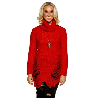 Xehar Womens Ribbed Knit Turtleneck Distressed Pullover Sweater