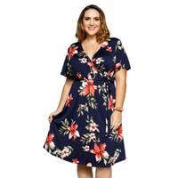 Xehar Womens Plus Size Fashion Floral Wrap Waist Tie Short Dress