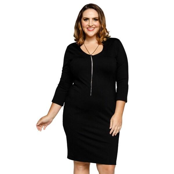 Shop Xehar Womens Plus Size Collared Scoop Neck 34 Sleeve Bodycon