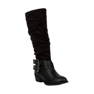 Xehar Womens Double Buckle Strap Faux Suede Knee High Boots