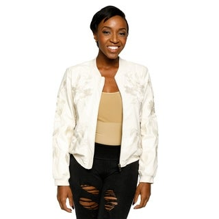 Xehar Womens Zip Up Metallic Floral Embroidered Bomber Jacket