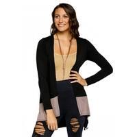 Xehar Womens Casual Open Front Two Tone Asymmetrical Cardigan Sweater