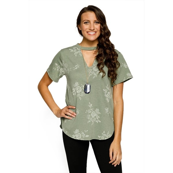 Xehar Womens Casual V-Neck Floral Keyhole Blouse Top