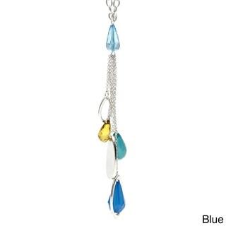 Silvertone Lucite Teardrop Tassel Necklace