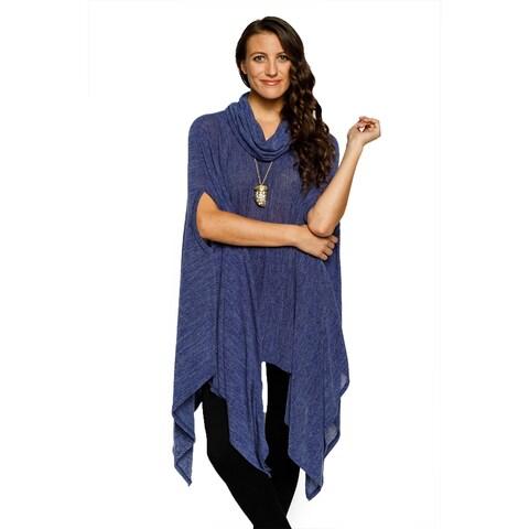 Xehar Womens Stylish Cowl Neck Long Body Asymmetrical Poncho Sweater