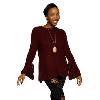 Xehar Womens Casual Knit Split Back Long Bell Sleeve Sweater