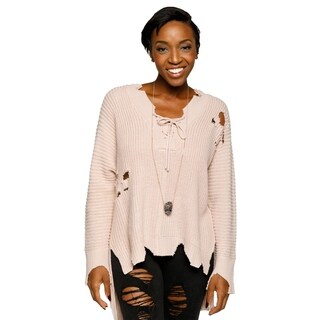 Xehar Womens Distressed Knit Pullover Lace Up V-Neck Sweater