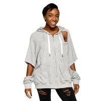 Xehar Womens Casual Stylish Cutout Sleeve Drawstring Hoodie Sweater