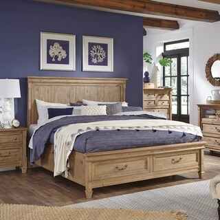 Crestview Traditional Rustic Belgian Wheat Panel Storage Bed