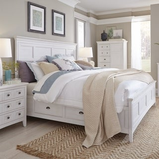 Heron Cove Relaxed Traditional Soft White Panel Bed with Storage Rails
