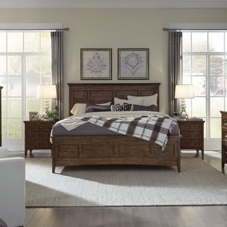 Bay Creek Relaxed Traditional Toasted Nutmeg Panel Bed with Storage Rails