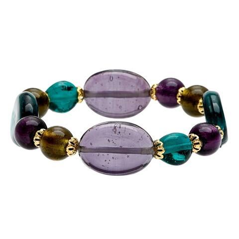 Green/ Purple Glass Beads Stretch Bracelet