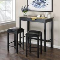 Avenue Greene Malcolm 3-Piece Black Faux Marble Pub Dining Set