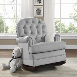 Avenue Greene Belmont Grey Fabric Button-tufted Rocker