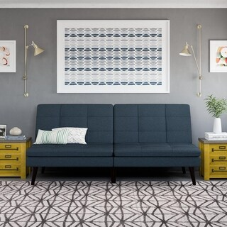 Avenue Greene Wesley Blue Linen Pillowtop Futon