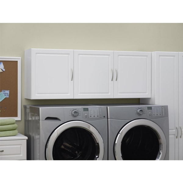 Laundry Room Wall Shelf Cabinet Organizer 54 Inch White Bathroom Shelves Unit Cabinets Cupboards Home Garden