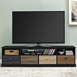 Avenue Greene Mercer 65 inch Black TV Console with Multicolored Drawer Fronts