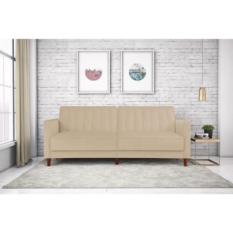 Porch & Den Woodsong Pin Tufted Velvet Convertible Futon Sofa
