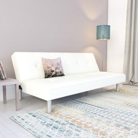 DHP Nola White Faux Leather Futon