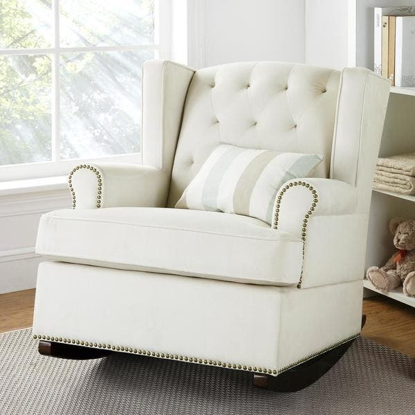 Stupendous Shop Baby Relax Nailhead Ivory Wingback Rocker Free Andrewgaddart Wooden Chair Designs For Living Room Andrewgaddartcom