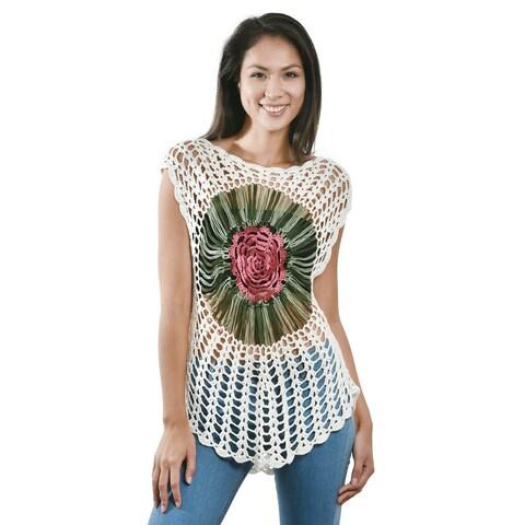 Handmade Stylish White Crochet Rose Flower Top or Bikini Cover Up (Thailand)