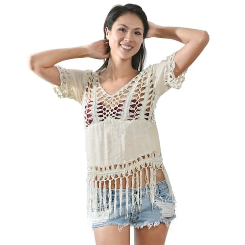 Tropical Dazzling Cream Color Crochet Fringe Trim Cover Up (Thailand)