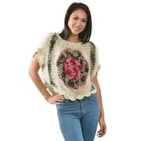 Handmade Bohemian Chic & Trendy Crochet Rosebud Fuzzy Crop Top (Thailand)