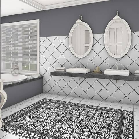 SomerTile 9.75x9.75-inch Mali Orleans Cenefa Black Porcelain Floor and Wall Tile (16 tiles/10.76 sqft.)