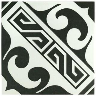 SomerTile 9.75x9.75-inch Mali Versalles Black Porcelain Floor and Wall Tile (16/Case, 10.76 sqft.)