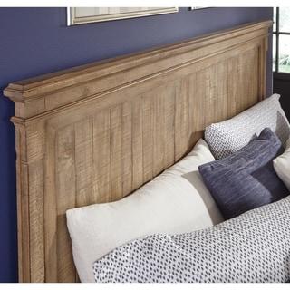 Crestview Traditional Rustic Belgian Wheat Queen Panel Bed Headboard
