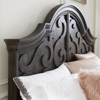 Bellamy Traditional Peppercorn Queen Panel Bed Shaped Headboard