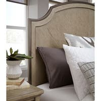 Leyton Park Transitional Queen Panel Bed Metal and Wood Shaped Headboard