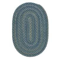 Capetown Crest Blue Wool Area Rug - 8' x 10'
