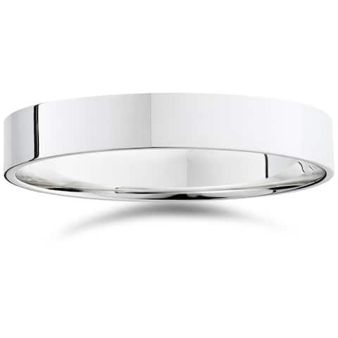 Pompeii3 950 Platinum Plain High Polished Ring 4mm Flat Wedding Band - White