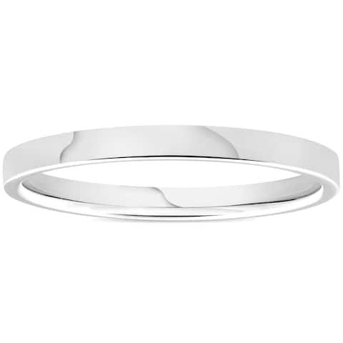 Pompeii3 950 Platinum Plain High Polished Ring 2mm Flat Wedding Band - White