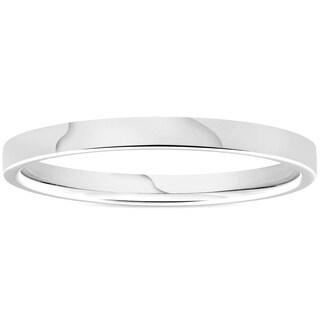 Bliss 950 Platinum Plain High Polished Ring 2mm Flat Wedding Band - White