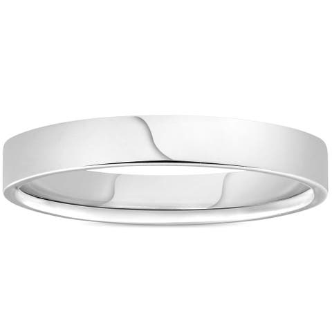 Pompeii3 950 Platinum Plain High Polished Ring 3mm Flat Wedding Band - White