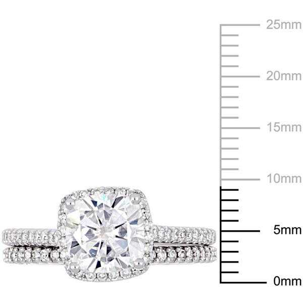 2ct TGW Cushion-Cut Moissanite and 1/3ct TDW Diamond Bridal Ring Set in 14k White Gold by Miadora