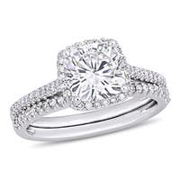Moissanite by Miadora Signature Collection 14k White Gold 2ct TGW Cushion-Cut Moissanite and 1/3ct TDW Diamond Bridal Ring Set