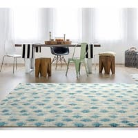 RugSmith Blue Pendant Contemporary Modern Area Rug - 5' x 7'