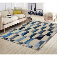 RugSmith Turquoise Painted Weave Contemporary Modern Area Rug - 5' x 7'