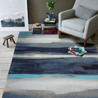 RugSmith Blue Canvas Contemporary Modern Area Rug - 5' x 7'