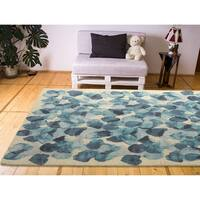 RugSmith Blue Faded Moon Contemporary Modern Area Rug, 5' x 7' - 5' x 7'